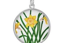 Daffodil Flowers Watercolor Artwork / Daffodil botanical art on products and gifts. Daffodil yellow flowers.  Spring flowers.