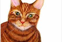 Cat Watercolor Painting Artwork / Ginger Tom cat watercolor painting artwork and other beautiful cat artworks