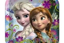 """Frozen Birthday Party Ideas, Decorations, and Supplies / Disney Princess. Animation. Party Supplies. Girls. Must Have. """"Fearless optimist Anna teams up with Kristoff in an epic journey, encountering Everest-like conditions, and a hilarious snowman named Olaf in a race to find Anna's sister Elsa, whose icy powers have trapped the kingdom in eternal winter."""" / by Hard To Find Party Supplies"""