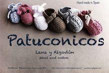 Patucos, Diademas, gorros y ropa de bebe y adulto de punto o crochet, baby booties hand made. / Patucos para bebé de lana o algodón hechos a mano.  hand made Baby booties cotton or wool