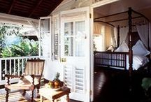 Colonial Style / Pieces in Colonial/Anglo-Indian Style. Timber, linen, brass, silver, vibrant colours.