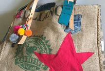 Handmade bags / Tote bags recycled from burlap cocoa bags Vintage ideas Summer city bags