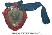 """Southern Patriotic Cockades / During the American Civil War, southern sympathizers wore """"secession"""" cockades. Many colors and emblems were used based on the region. For more information see http://creativecockades.com/american-civilwar."""