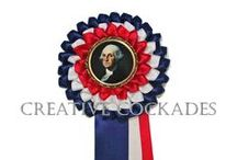 My Presidential Cockades / Before presidential pins, there were presidential cockades! These are reproduction rosettes I've made honoring various presidential contenders from American history.