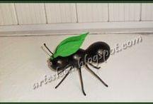 Artes Leca - Porongo (cabaça) - Animais / Formigas feitas com porongo (cabaça)