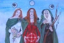 Triple Goddess, Maiden, Mother, Crone / The Triple Goddess has been adopted by many neopagans as one of their primary deities. In common Neopagan usage the three female figures are frequently described as the Maiden, the Mother, and the Crone, each of which symbolizes both a separate stage in the female life cycle and a phase of the moon, and often rules one of the realms of earth, underworld, and the heavens. These may or may not be perceived as aspects of a greater single divinity...