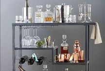 Bar Carts + Cocktails / Bar cart styling with DIY ikea ideas and target mini carts. Bar cart essentials and decor. Paired with amazing easy party cocktail recipes! Gold industrial vintage rustic wooden carts.