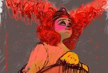 MODERN Goddess / Paintings and drawings of burlesque dancers currently performing in the NY Burlesque scene.
