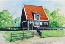 Openluchtmuseum Arnhem - painted by Bert Heemskerk / Nederlandse geschiedenis; wonen en werken. Plaggenhutten, vissershuisjes, boerderijen en nog veel meer!