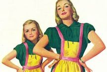 Matching Mother / Daughter Cuties / It used to be trendy for moms and daughters to dress alike -- matching outfits, aprons, etc. Here's a sample from the 1940s & 50s...and beyond