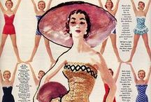 "Vintage S W I M W E A R Ads / We called them ""Bathing Suits"" but they hardly ever got wet!"