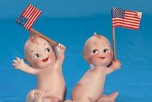 Patriotic Dolls / Some of our most patriotic dolls from over the years. Red white and blues of all shapes and sizes.