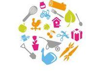 Duurzaamheid / Een bord met duurzame producten en biologisch voedsel.
