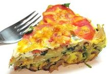 Frittatas / I enjoy making Frittatas, adding my favorite Veges and Cheeses,  Meats, Chicken.,Seafood, Turkey and Eggs...use your imagination, leftovers and so many ways to invent your own Frittatas for Breakfast, Lunch or Dinner and for a Snack too.