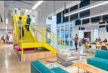 De kantoortuin / Het hedendaagse kantoor bestaat vaak uit grote openruimtes waar diverse functies en activiteiten samen gebracht worden. Dit vraagt om slimme inrichtingsconcepten, innoverende producten en goede akoestische oplossingen.
