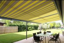 GLASS CANOPIES / Solarlux Glass Canopies provide a contemporary patio roof to any home. Installed new or retrofitted to an existing patio the glass canopies can be fitted with vertical glass elements.  See more at http://www.tvwindows.com/living-spaces/solarlux-glass-canopies