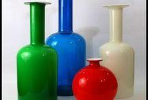 Per Lütken (1916-98), Danish glass designer /  fabric by Holmegaard