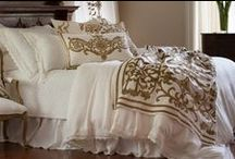 Theresa White Lace with Straw Velvet / The Teresa White Lace with Straw Velvet bedding collection from Lili Alessandra's 2015 catalogue.