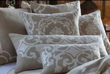 Natural Linen with White Decorative Pillows / The Natural Linen with White collection of decorative pillows from Lili Alessandra's 2015 catalogue.