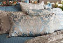 Shades of Blue Decorative Pillows / The Shades of Blue collection of decorative pillows from Lili Alessandra's 2015 catalogue.
