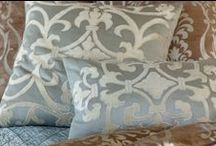 Shades of Blue with Silver Decorative Pillows / The Shades of Blue with Silver collection of decorative pillows from Lili Alessandra's 2015 catalogue.