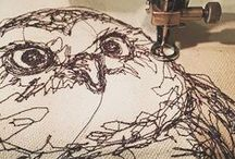 drawing with thread (my work) / Drawing with thread using free-motion & one continuous line.