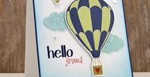 Hot Air Balloons Stamps and Dies / Clear stamps and dies from pinkandmain.com