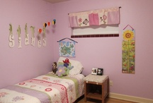 "Pink & Purple, Hot Air Balloon & Butterflies Bedroom Decor / This is the bedroom I designed for our 3-year-old daughter when she moved into her ""big girl"" room.  Inspired by red hot air balloons, butterflies, flowers, purple, pink and natural wood colors."
