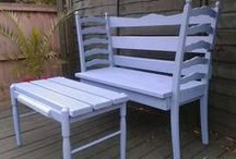 Re-sit..We made these  :) / My Hubby Hand made these Benches ...He Recycled Them From Discarded Beds, Chairs and Tables...(Check out the Rocker used to be a Table ) QUIRKY RECYCLES....