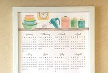 2016 Wall Calendars / our new watercolor year-at-a-glance calendars