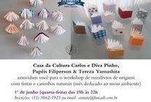 Carimbos e Tintas Naturais / Experiências com carimbos e tintas naturais. Atividade dos meus workshops de origami. Abraços Dobrados https://yamashitatereza.wordpress.com/parceria-filiperson-artista-qualificada/