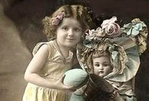Girl with doll / Postcards- Video-Art and Photography- Vintage-Painting