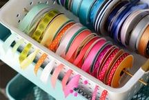 Ribbon Storage Ideas / We LOVE ribbon. Here are some of our favorite ways to keep our ribbon organized. We also have found other projects to do from blogging friends. Bowdabra - www.BowdabraBlog.com or www.Bowdabra.com