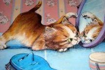 illustrations / chats ours animaux poupées