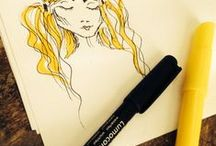 Kun on kynä kädessä / Omia piirtelyitä ja luonnosteluja