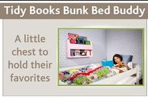 Bunk Bed Storage Shelf / The perfect storage for bunk beds by Tidy Books. It provides a safe cubby-hole to your kids to store a bedtime drink and book beside them in the top bunk bed. Eco-friendly and designed by a mom.