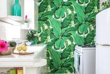 Trend: Totally Tropical / Tropical interiors is one of the boldest trends of the year. Enliven your kitchen with botanical prints, exotic jewel tones and natural weaves.