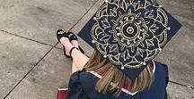 Graduation Caps Mortar Boards with Mandalas / Graduates get creative by decorating their graduation caps with mandalas.