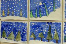 Kuvis talvi Art WINTER / Kuvis talvi koulu lapset