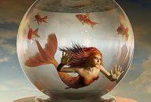 Mermaids, Sirens & Sea Witches / Mermaids, mermen, merpeople, Sea Witches & Water babies... siren song / by Bunniboila