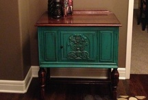 RE's goodies in their NEW homes. / Furniture and decor purchased from Restoration Emporium set up in their new homes!