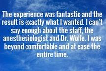 Patient Testimonials / Patients share their experiences and thoughts about The Center for Cosmetic Surgery.