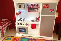 Play kitchen DIY / Tv unit converted into a play kitchen. Birthday gift for my daughter's 2nd birthday.