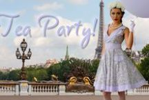 """Tea Party / Tea Party is a gorgeous dress collection featuring Vintage Floral Cotton Fabrics and French Lace. """"Tea Party"""" is feminine, classic, and beautiful. You will find a dress perfect for a spot of tea!"""