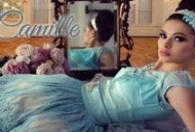 Camille / A whimsical collection of Baby Blue Lace, Champagne Satin and Soft Tulle, adorned in Pearl and Diamante accents.