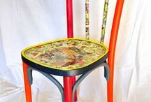 Painted thonet chair / Old chair hand painted