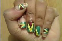 Guyana Flag Nails  / Nail art that celebrates the Guyana Flag.