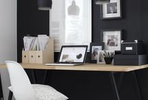 Home office / Ideas for the home office-love the black wall!