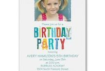Birthday Invitations / This board features our custom printed Birthday invitations for kids of all ages. Envelopes included. Design it online with choice of lettering, ink color and  custom birthday party wording!