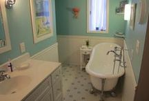Bathroom Beadboard / Small bathrooms and restrooms with high humidity do great with PVC (or vinyl) millwork such as wainscoting, beadboard and moulding along the ceiling and/or walls.